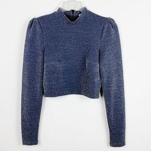 H&M Gray Metallic Long Sleeve Crop Top